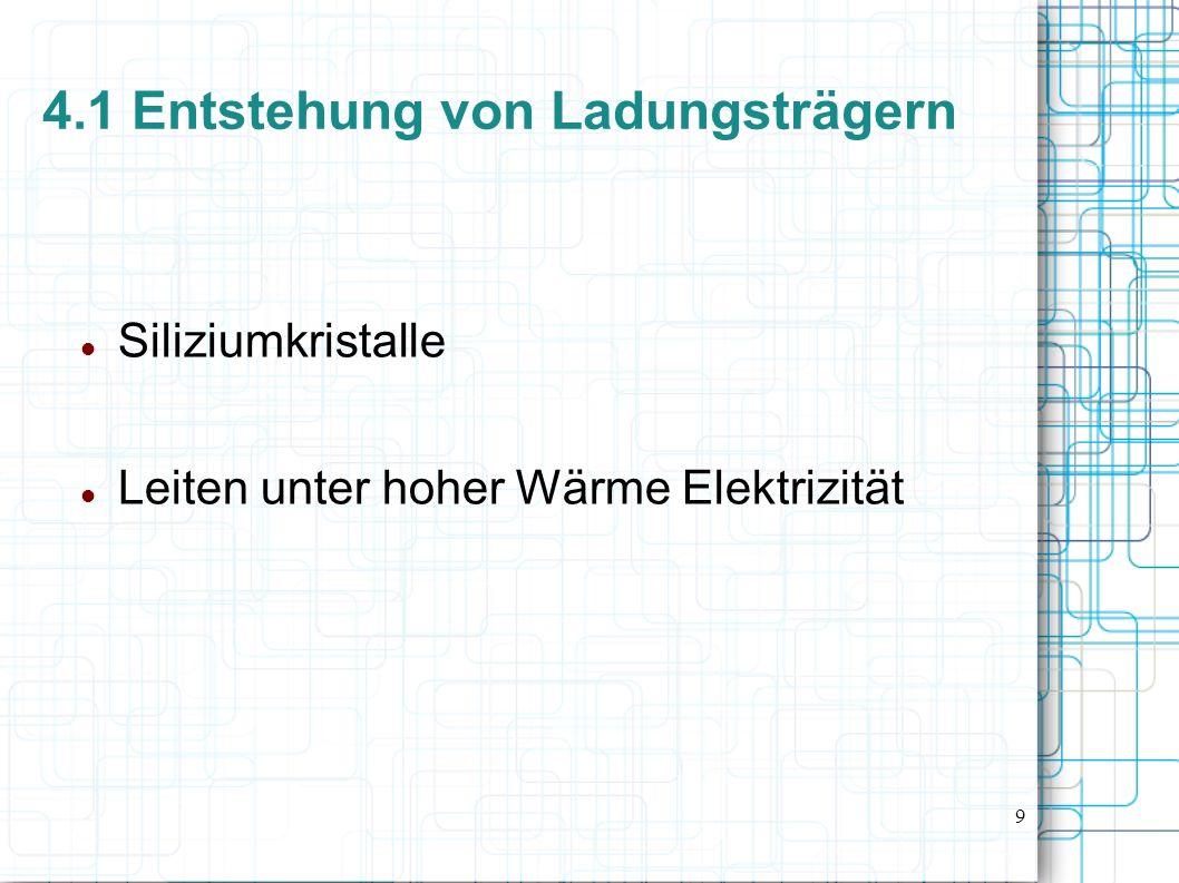 9 4.1 Entstehung von Ladungsträgern Siliziumkristalle Leiten unter hoher Wärme Elektrizität