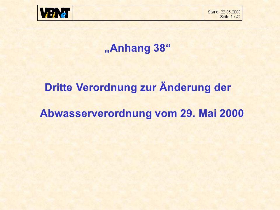 """""""Anhang 38 Dritte Verordnung zur Änderung der Abwasserverordnung vom 29. Mai 2000"""