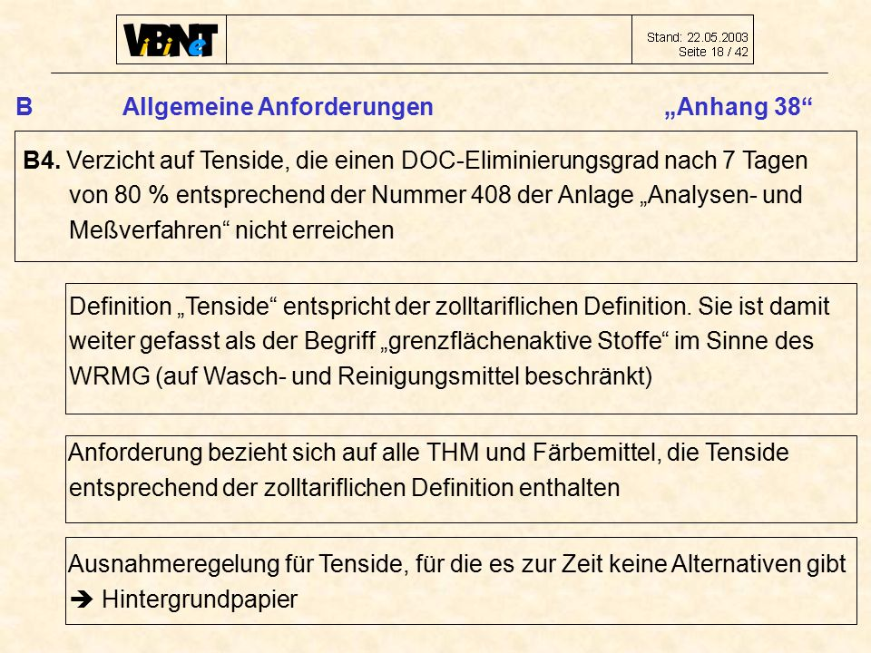"""B Allgemeine Anforderungen """"Anhang 38 B4."""