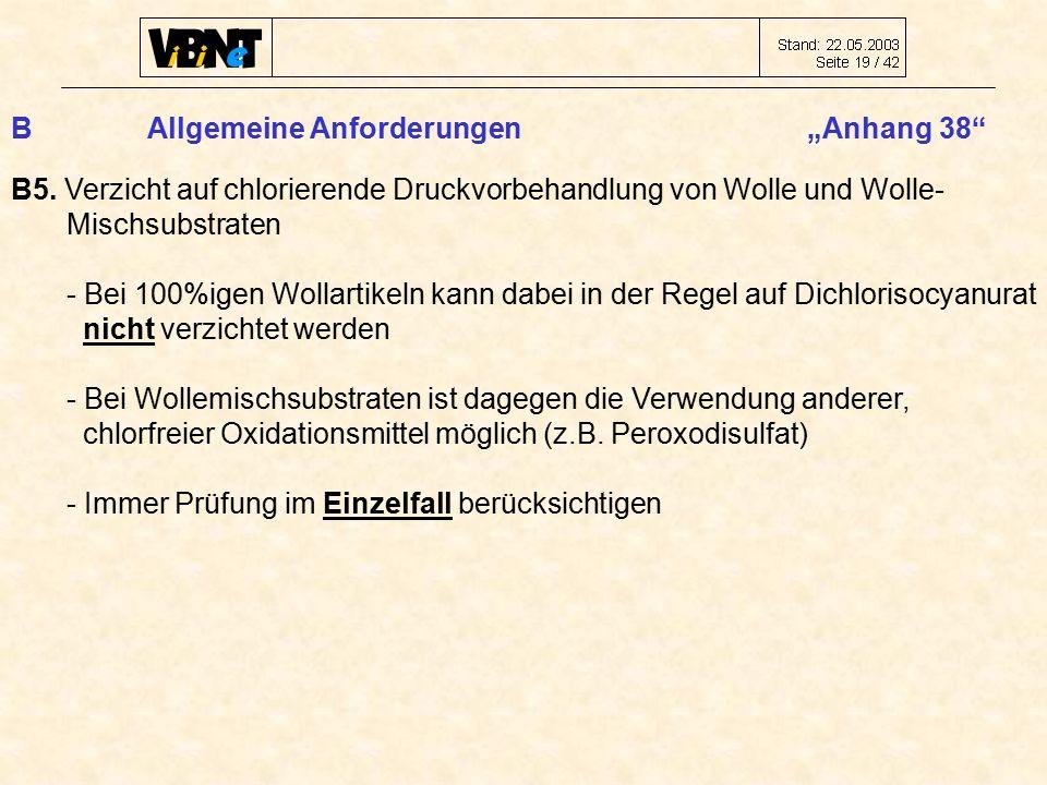 """B Allgemeine Anforderungen """"Anhang 38 B5."""