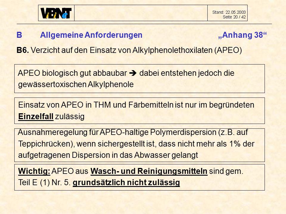 """B Allgemeine Anforderungen """"Anhang 38 B6."""