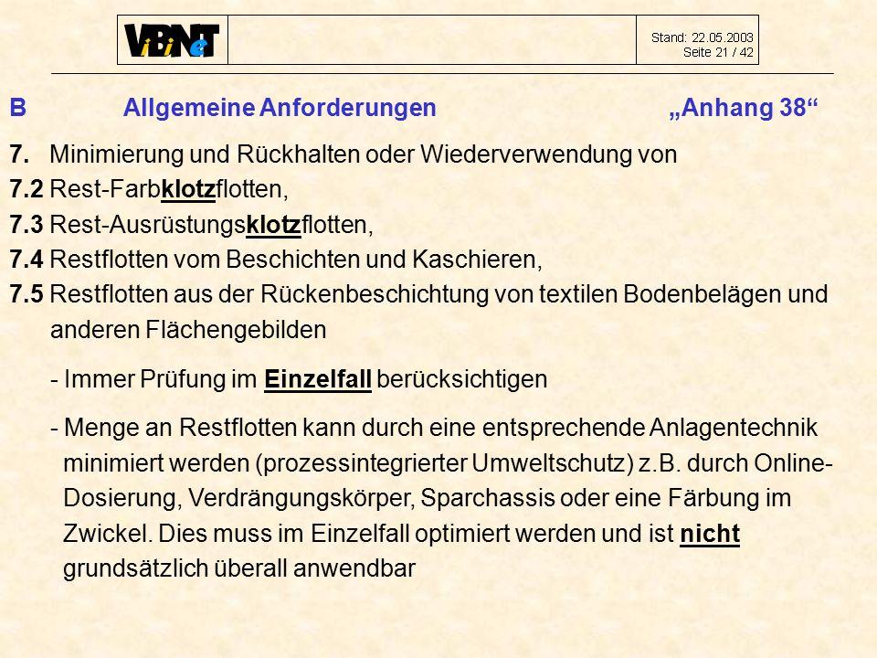 """B Allgemeine Anforderungen """"Anhang 38 7."""
