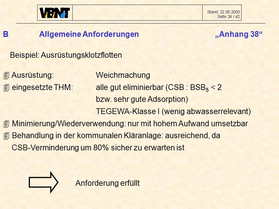 """B Allgemeine Anforderungen """"Anhang 38 Beispiel: Ausrüstungsklotzflotten  Ausrüstung: Weichmachung  eingesetzte THM: alle gut eliminierbar (CSB : BSB 5 < 2 bzw."""
