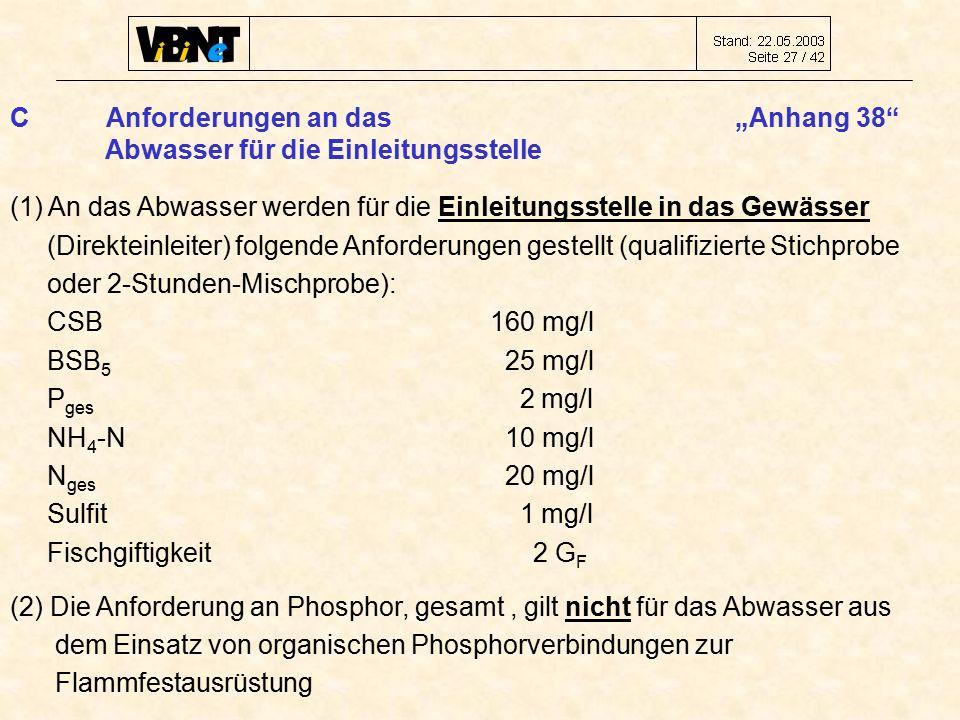 """CAnforderungen an das """"Anhang 38 Abwasser für die Einleitungsstelle (1) An das Abwasser werden für die Einleitungsstelle in das Gewässer (Direkteinleiter) folgende Anforderungen gestellt (qualifizierte Stichprobe oder 2-Stunden-Mischprobe): CSB160 mg/l BSB 5 25 mg/l P ges 2 mg/l NH 4 -N 10 mg/l N ges 20 mg/l Sulfit 1 mg/l Fischgiftigkeit 2 G F (2) Die Anforderung an Phosphor, gesamt, gilt nicht für das Abwasser aus dem Einsatz von organischen Phosphorverbindungen zur Flammfestausrüstung"""