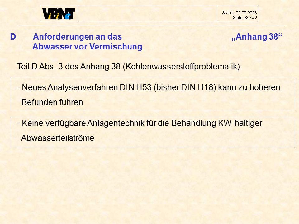 "DAnforderungen an das ""Anhang 38 Abwasser vor Vermischung Teil D Abs."