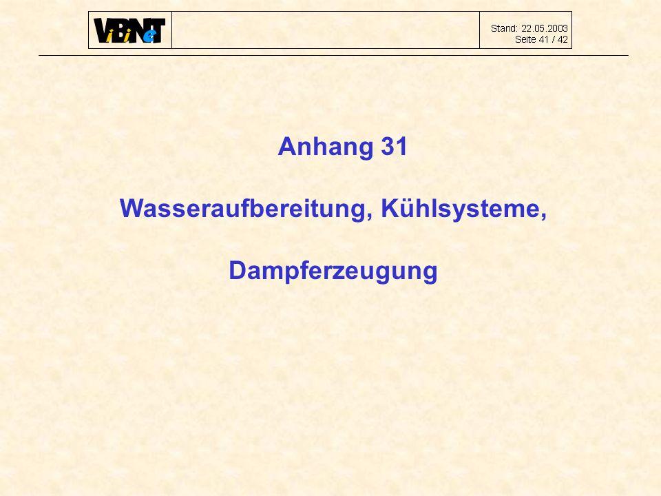 Anhang 31 Wasseraufbereitung, Kühlsysteme, Dampferzeugung