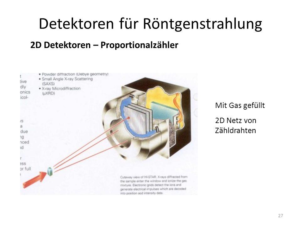 27 Detektoren für Röntgenstrahlung 2D Detektoren – Proportionalzähler Mit Gas gefüllt 2D Netz von Zähldrahten