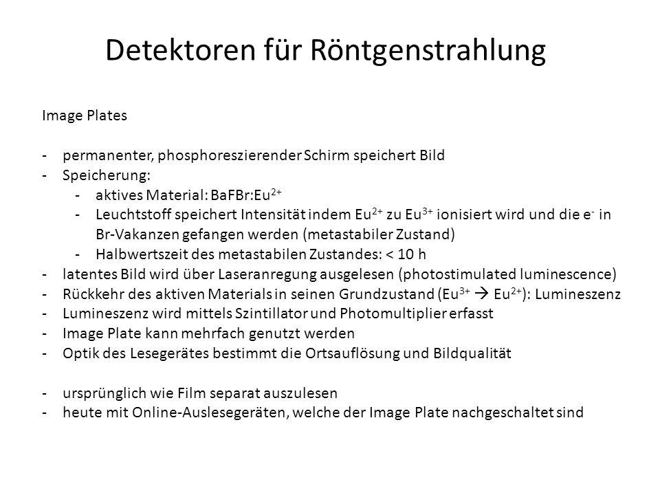 Detektoren für Röntgenstrahlung Image Plates -permanenter, phosphoreszierender Schirm speichert Bild -Speicherung: -aktives Material: BaFBr:Eu 2+ -Leuchtstoff speichert Intensität indem Eu 2+ zu Eu 3+ ionisiert wird und die e - in Br-Vakanzen gefangen werden (metastabiler Zustand) -Halbwertszeit des metastabilen Zustandes: < 10 h -latentes Bild wird über Laseranregung ausgelesen (photostimulated luminescence) -Rückkehr des aktiven Materials in seinen Grundzustand (Eu 3+  Eu 2+ ): Lumineszenz -Lumineszenz wird mittels Szintillator und Photomultiplier erfasst -Image Plate kann mehrfach genutzt werden -Optik des Lesegerätes bestimmt die Ortsauflösung und Bildqualität -ursprünglich wie Film separat auszulesen -heute mit Online-Auslesegeräten, welche der Image Plate nachgeschaltet sind