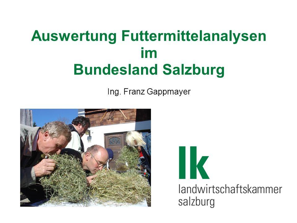 Auswertung Futtermittelanalysen im Bundesland Salzburg Ing. Franz Gappmayer