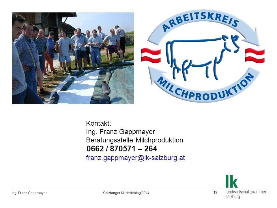 13 Ing. Franz Gappmayer Salzburger Milchviehtag 2014 Kontakt: Ing.