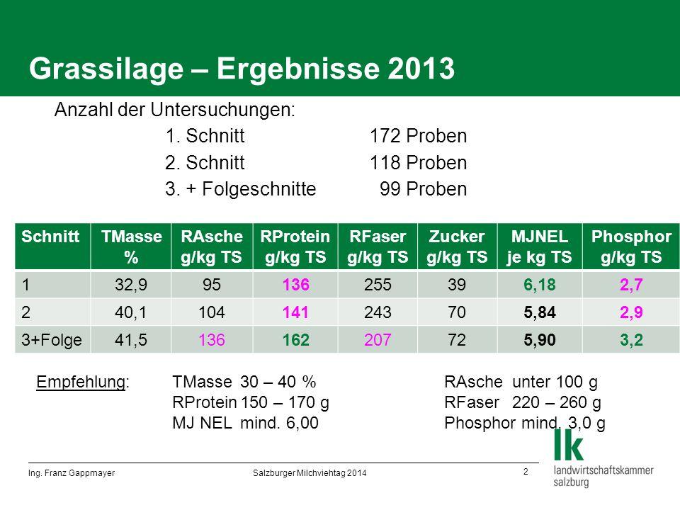 2 Grassilage – Ergebnisse 2013  Anzahl der Untersuchungen:  1.