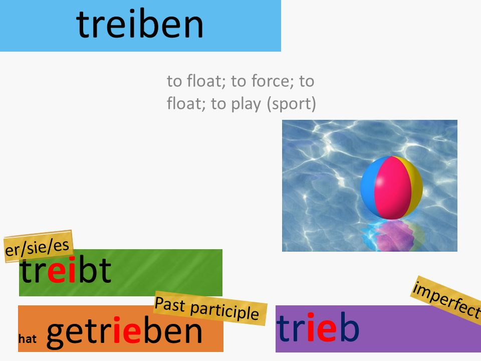 treiben treibt hat getrieben to float; to force; to float; to play (sport) er/sie/es Past participle trieb imperfect