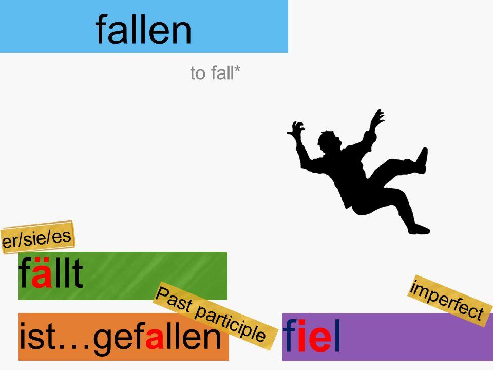 fallen fällt ist…gefallen to fall* er/sie/es Past participle fiel imperfect