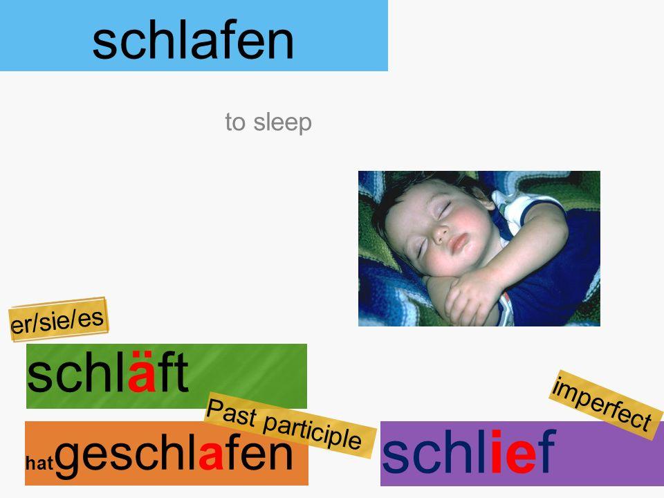 schlafen schläft hat geschlafen to sleep er/sie/es Past participle schlief imperfect
