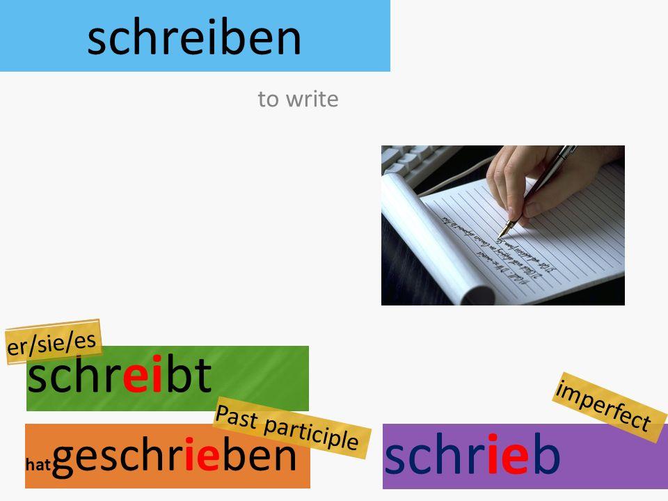 schreiben schreibt hat geschrieben to write er/sie/es Past participle schrieb imperfect