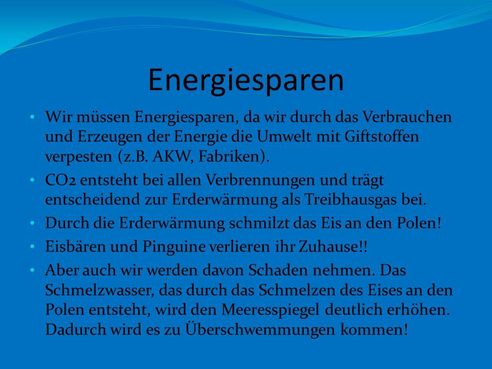 Energiesparen Wir müssen Energiesparen, da wir durch das Verbrauchen und Erzeugen der Energie die Umwelt mit Giftstoffen verpesten (z.B.