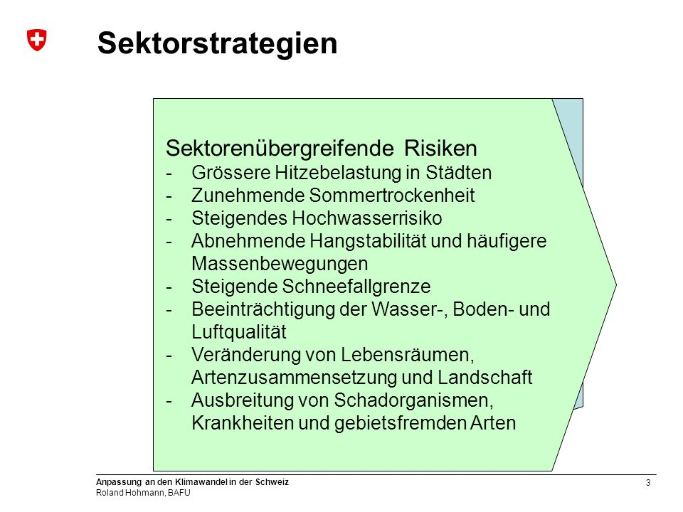 3 Anpassung an den Klimawandel in der Schweiz Roland Hohmann, BAFU Sektorstrategien & sektorenübergreifende Perspektive Anpassungsstrategien für 9 Sektoren -Wasserwirtschaft -Umgang mit Naturgefahren -Landwirtschaft -Waldwirtschaft -Energie -Tourismus -Biodiversitätsmanagement -Gesundheit -Raumplanung Handlungsfelder → Ziele → Massnahmen Sektorenübergreifende Risiken -Grössere Hitzebelastung in Städten -Zunehmende Sommertrockenheit -Steigendes Hochwasserrisiko -Abnehmende Hangstabilität und häufigere Massenbewegungen -Steigende Schneefallgrenze -Beeinträchtigung der Wasser-, Boden- und Luftqualität -Veränderung von Lebensräumen, Artenzusammensetzung und Landschaft -Ausbreitung von Schadorganismen, Krankheiten und gebietsfremden Arten