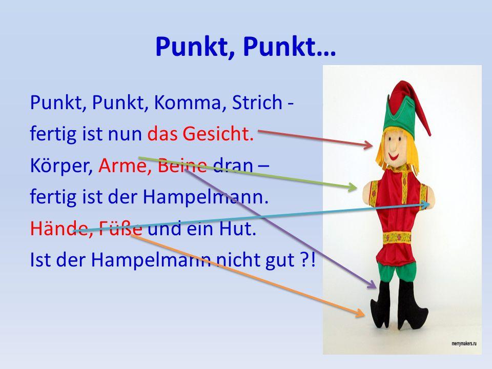 Punkt, Punkt… Punkt, Punkt, Komma, Strich - fertig ist nun das Gesicht. Körper, Arme, Beine dran – fertig ist der Hampelmann. Hände, Füße und ein Hut.