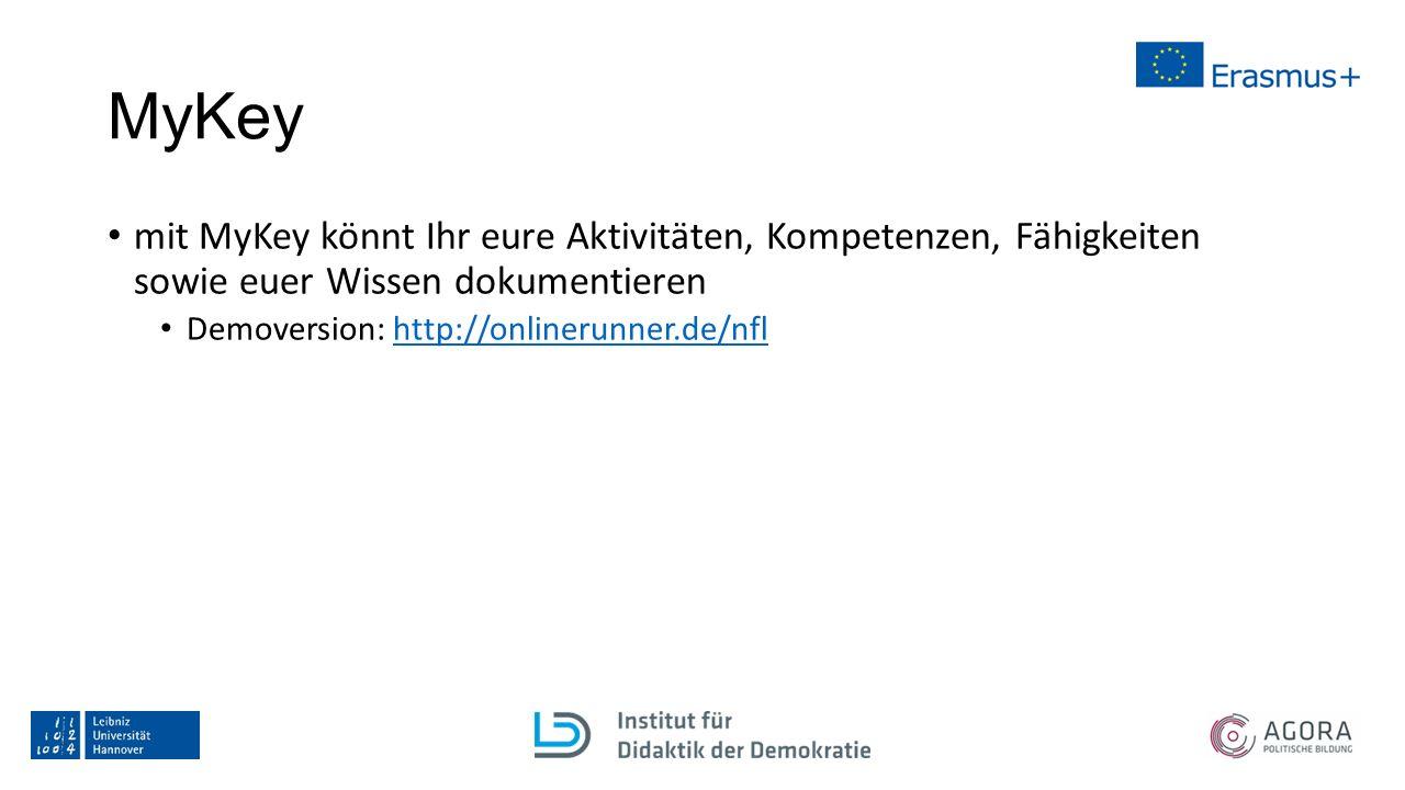 MyKey mit MyKey könnt Ihr eure Aktivitäten, Kompetenzen, Fähigkeiten sowie euer Wissen dokumentieren Demoversion: http://onlinerunner.de/nflhttp://onlinerunner.de/nfl