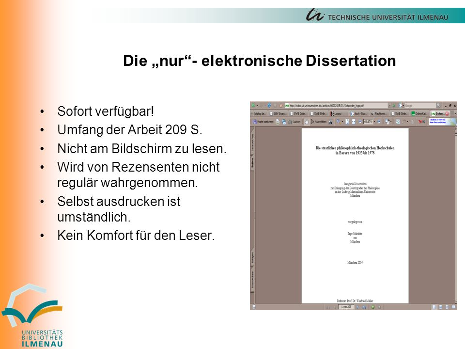 """Die """"nur - elektronische Dissertation Sofort verfügbar."""
