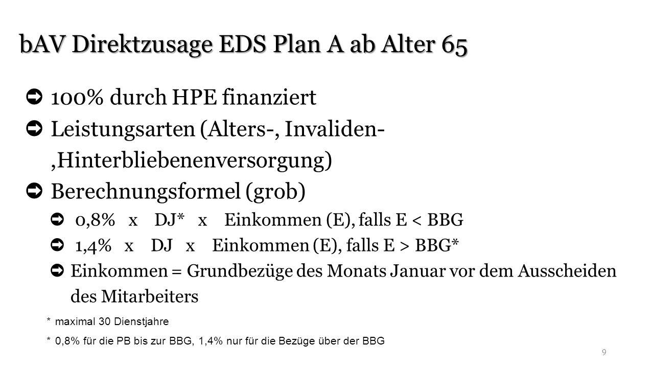 bAV Direktzusage EDS Plan A ab Alter 65 9 ➲ 100% durch HPE finanziert ➲ Leistungsarten (Alters-, Invaliden-,Hinterbliebenenversorgung) ➲ Berechnungsfo