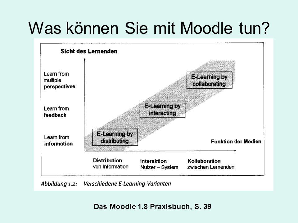 Was können Sie mit Moodle tun Das Moodle 1.8 Praxisbuch, S. 39