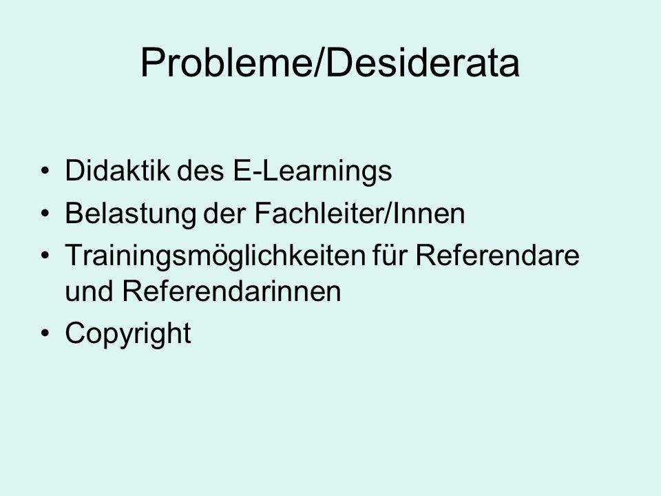 Probleme/Desiderata Didaktik des E-Learnings Belastung der Fachleiter/Innen Trainingsmöglichkeiten für Referendare und Referendarinnen Copyright