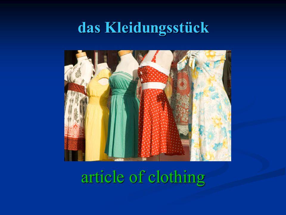 das Kleidungsstück article of clothing