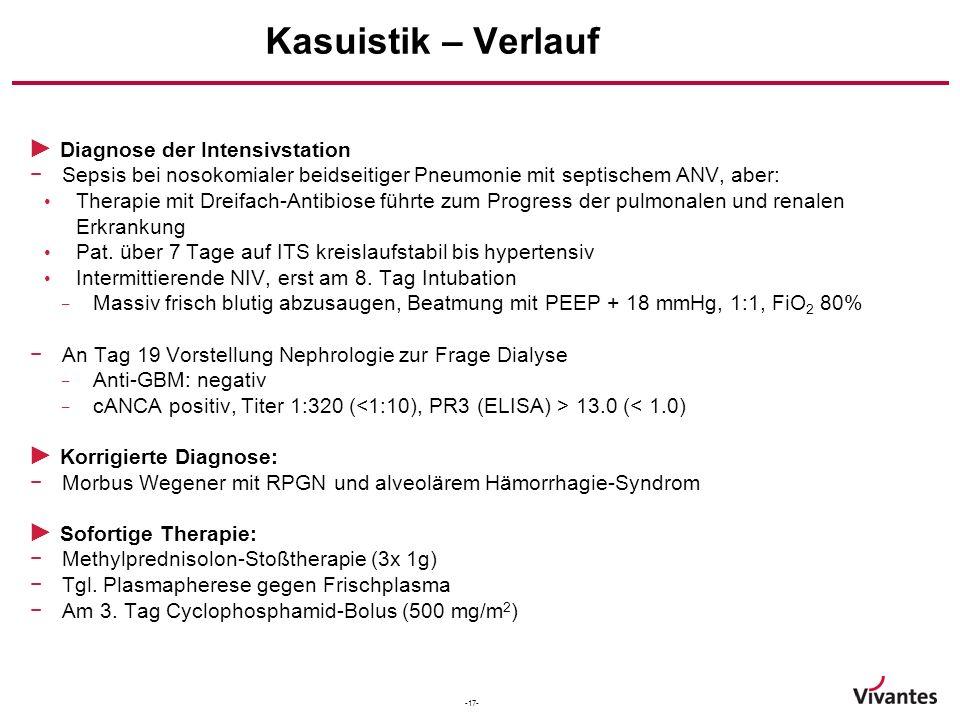 -17- Kasuistik – Verlauf ► Diagnose der Intensivstation −Sepsis bei nosokomialer beidseitiger Pneumonie mit septischem ANV, aber: Therapie mit Dreifac