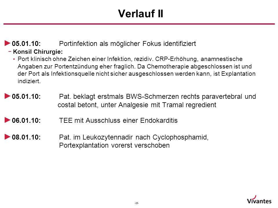 -25- Verlauf II ► 05.01.10:Portinfektion als möglicher Fokus identifiziert −Konsil Chirurgie: Port klinisch ohne Zeichen einer Infektion, rezidiv. CRP