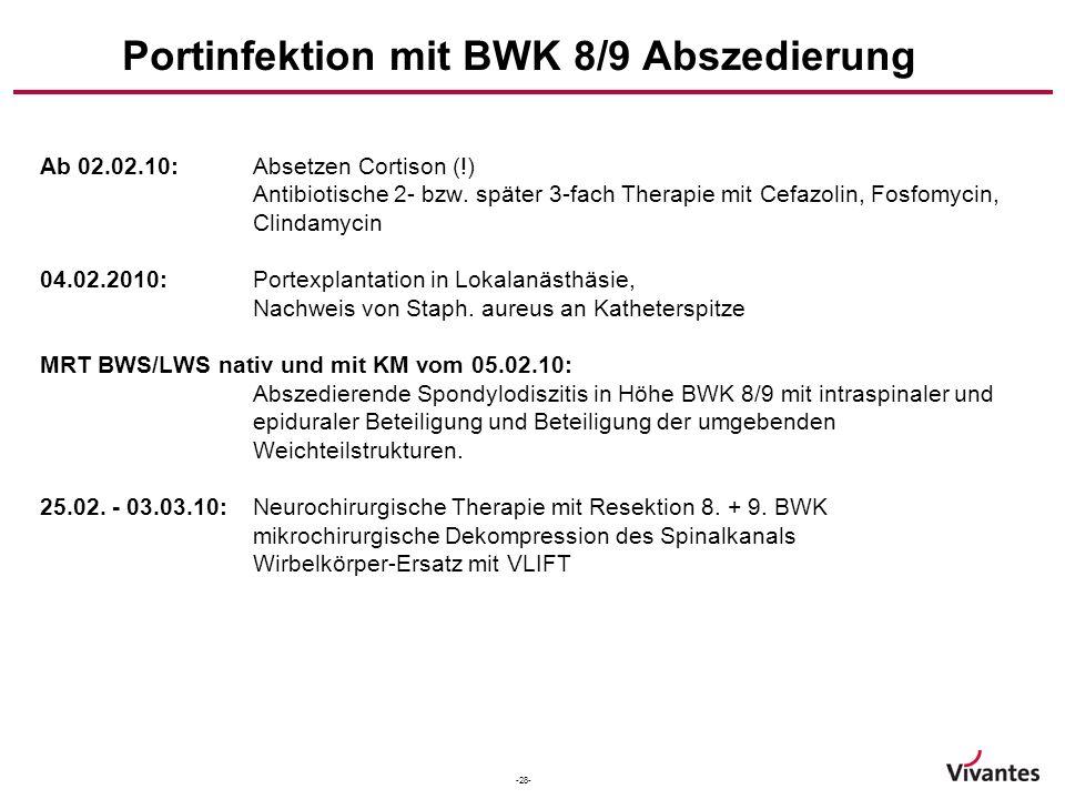 -28- Portinfektion mit BWK 8/9 Abszedierung Ab 02.02.10:Absetzen Cortison (!) Antibiotische 2- bzw. später 3-fach Therapie mit Cefazolin, Fosfomycin,