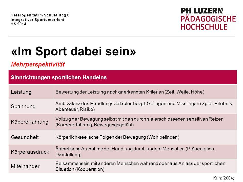 Heterogenität im Schulalltag C Integrativer Sportunterricht HS 2014 «Im Sport dabei sein» Mehrperspektivität Sinnrichtungen sportlichen Handelns Leist