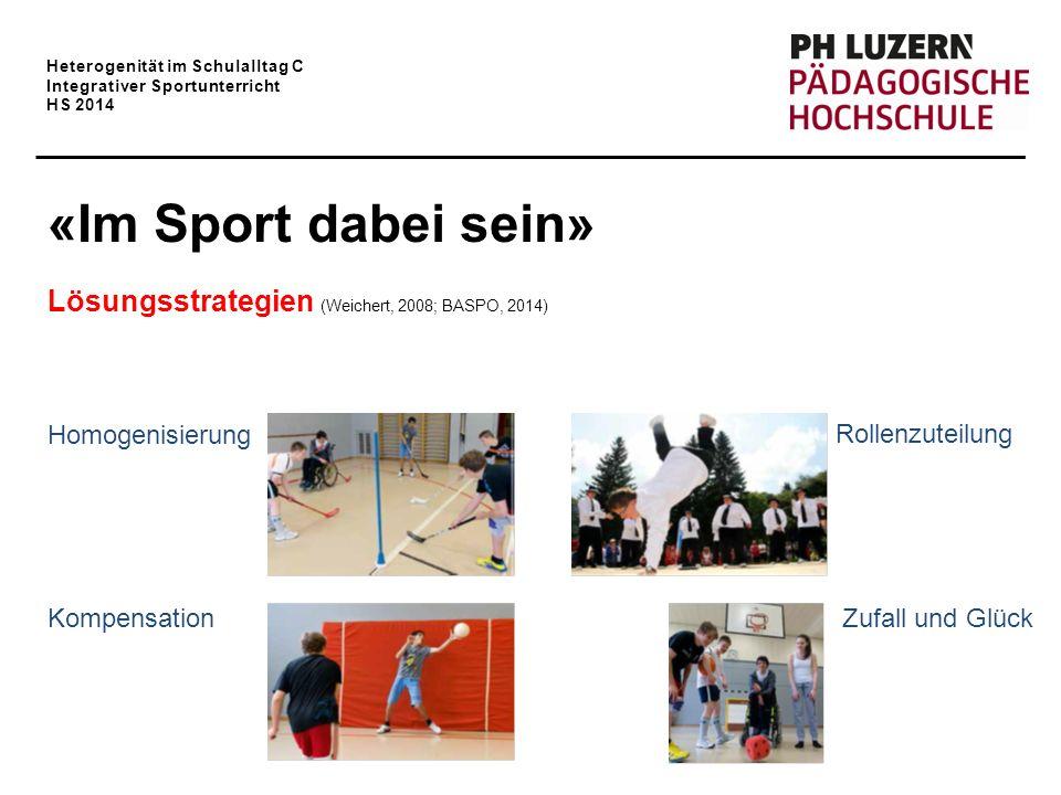 Heterogenität im Schulalltag C Integrativer Sportunterricht HS 2014 «Im Sport dabei sein» Lösungsstrategien (Weichert, 2008; BASPO, 2014) Homogenisier