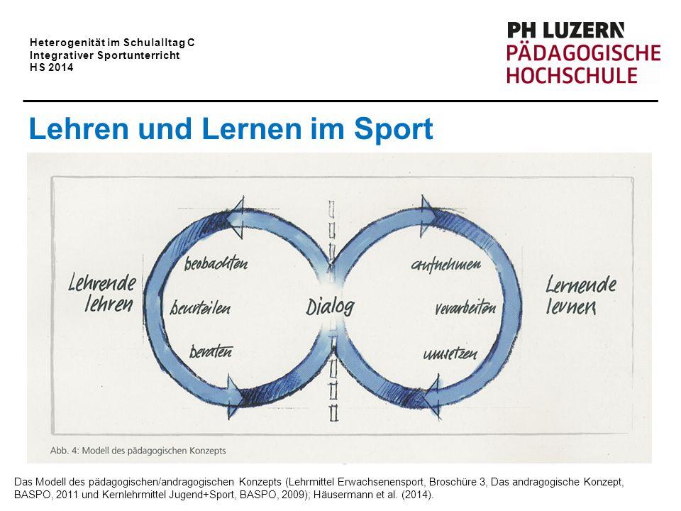 Heterogenität im Schulalltag C Integrativer Sportunterricht HS 2014 Dialog Lernende lernen Lehrende lehren beurteilen beraten beobachten aufnehmen ums