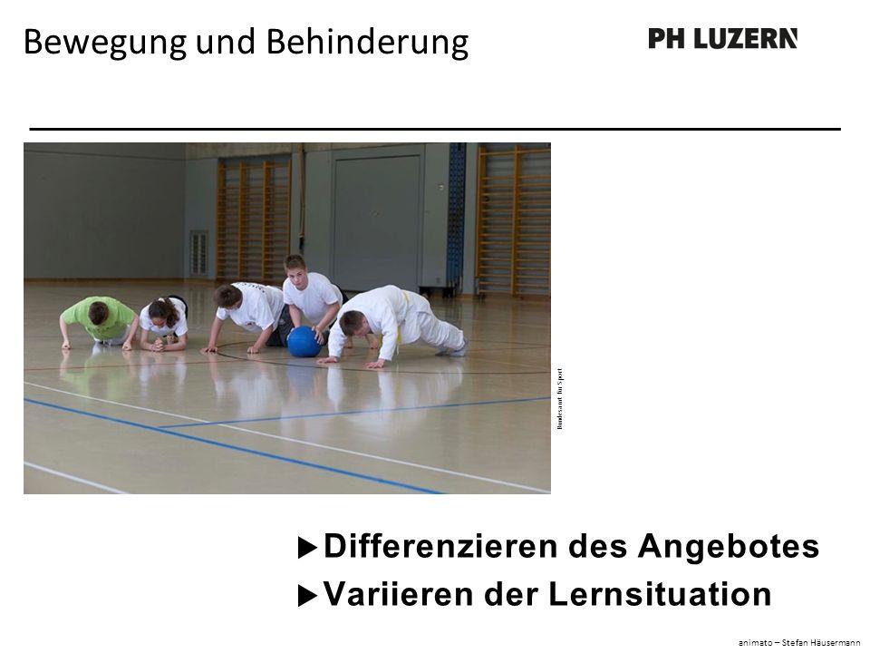  Differenzieren des Angebotes  Variieren der Lernsituation Bewegung und Behinderung Bundesamt für Sport animato – Stefan Häusermann
