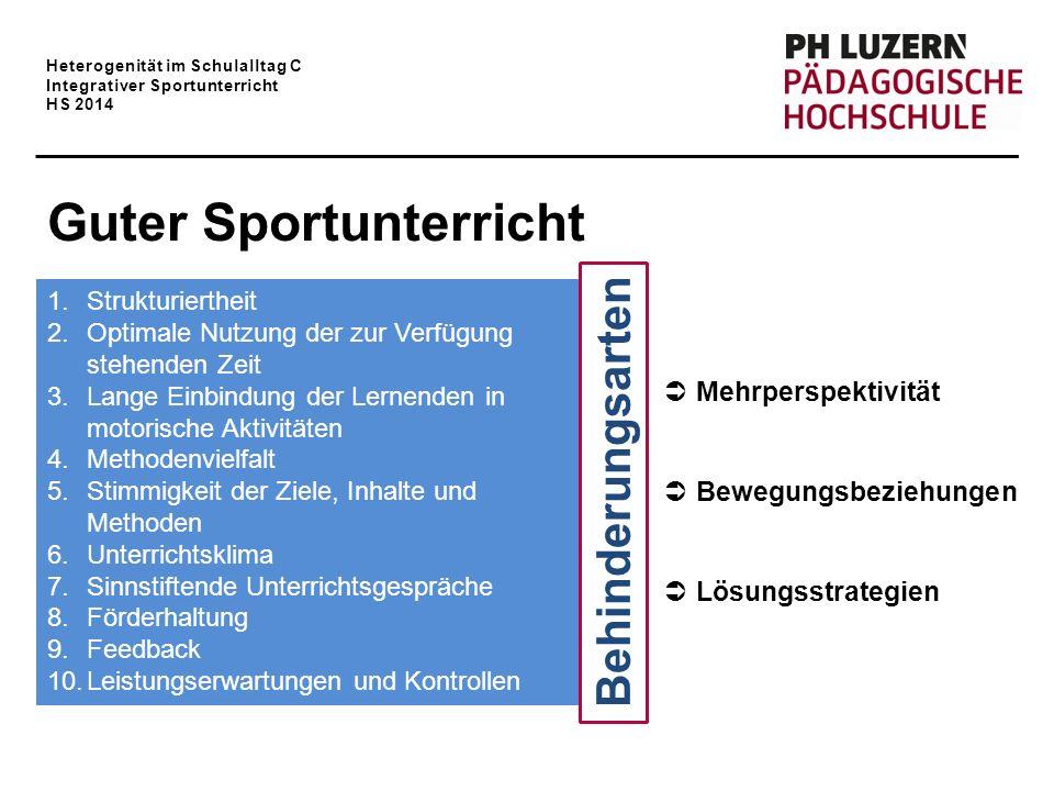 Heterogenität im Schulalltag C Integrativer Sportunterricht HS 2014 Guter Sportunterricht 1.Strukturiertheit 2.Optimale Nutzung der zur Verfügung steh