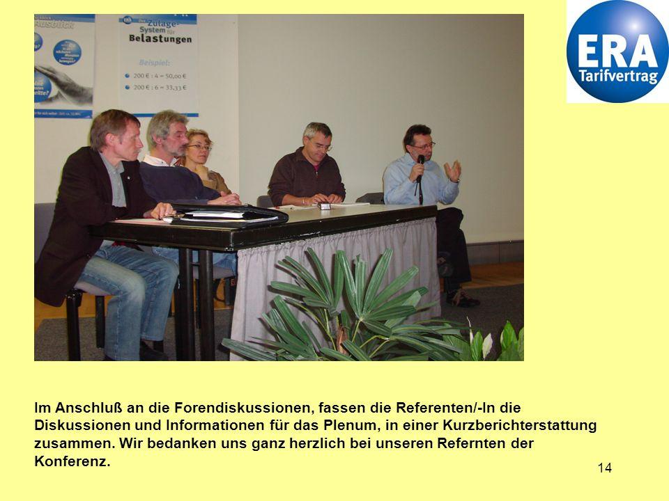 14 Im Anschluß an die Forendiskussionen, fassen die Referenten/-In die Diskussionen und Informationen für das Plenum, in einer Kurzberichterstattung zusammen.