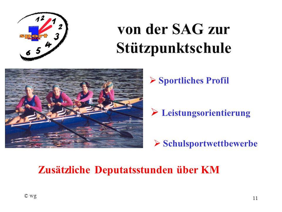 © wg 11 von der SAG zur Stützpunktschule  Sportliches Profil  Schulsportwettbewerbe  Leistungsorientierung Zusätzliche Deputatsstunden über KM