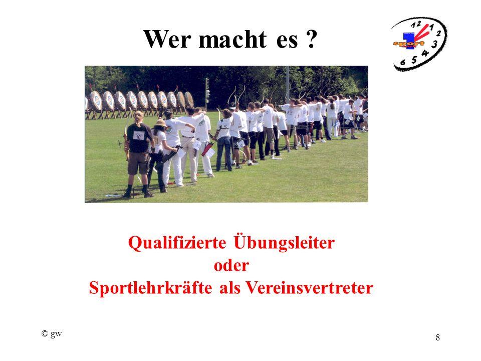 © gw 8 Wer macht es Qualifizierte Übungsleiter oder Sportlehrkräfte als Vereinsvertreter
