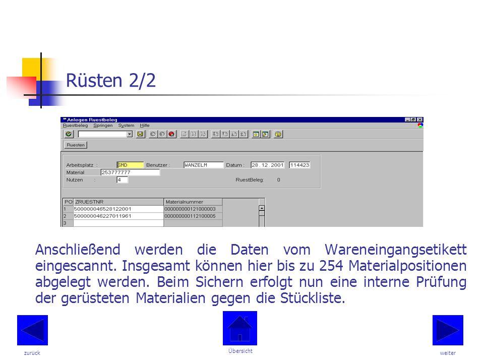 Rüsten 2/2 Anschließend werden die Daten vom Wareneingangsetikett eingescannt.