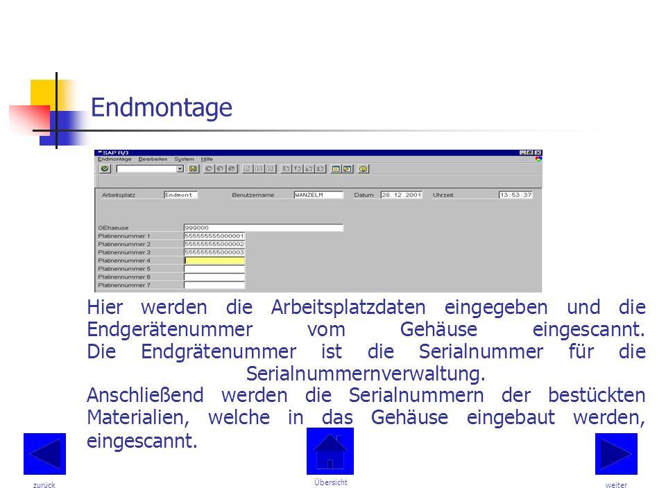Endmontage Hier werden die Arbeitsplatzdaten eingegeben und die Endgerätenummer vom Gehäuse eingescannt.