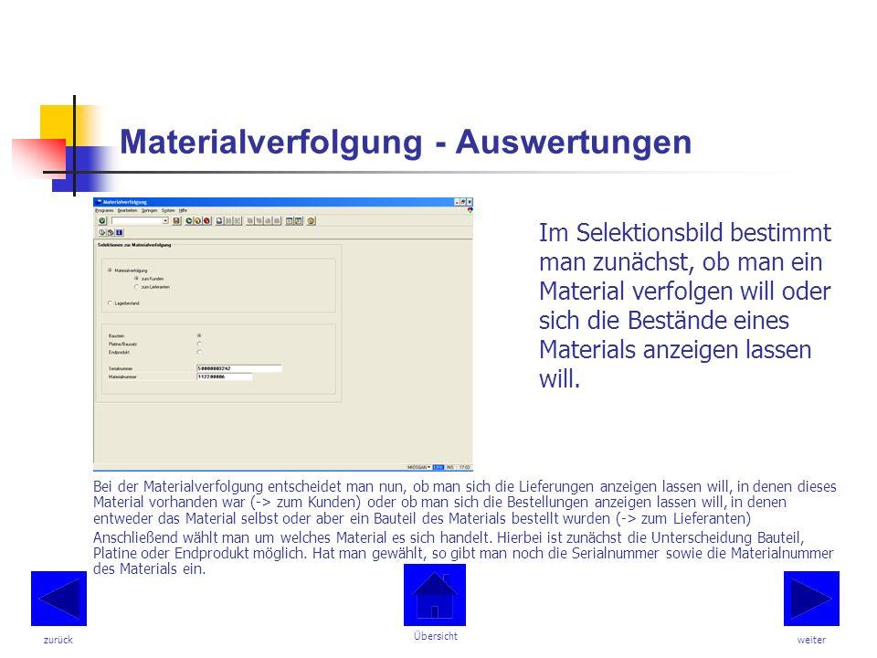 Materialverfolgung - Auswertungen Im Selektionsbild bestimmt man zunächst, ob man ein Material verfolgen will oder sich die Bestände eines Materials anzeigen lassen will.