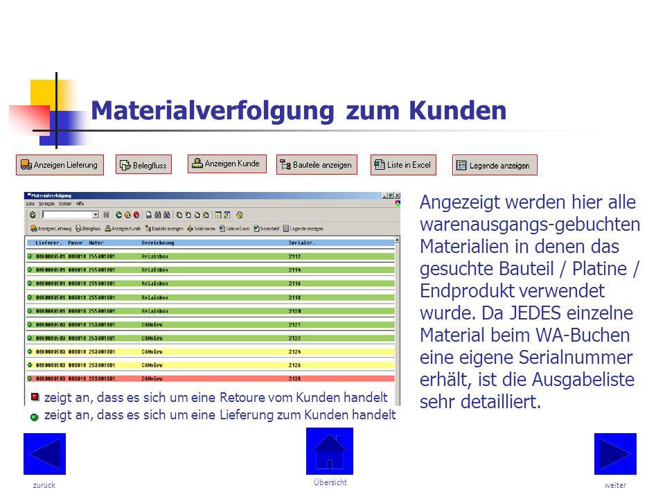 Materialverfolgung zum Kunden Angezeigt werden hier alle warenausgangs-gebuchten Materialien in denen das gesuchte Bauteil / Platine / Endprodukt verwendet wurde.