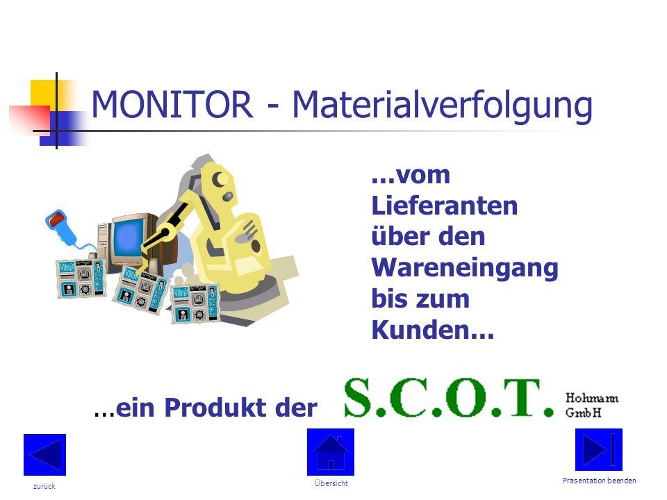 MONITOR - Materialverfolgung...vom Lieferanten über den Wareneingang bis zum Kunden......ein Produkt der Präsentation beenden Übersicht zurück