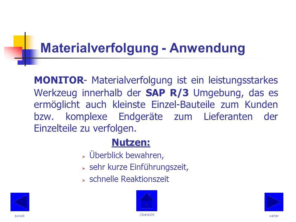 Materialverfolgung - Anwendung MONITOR- Materialverfolgung ist ein leistungsstarkes Werkzeug innerhalb der SAP R/3 Umgebung, das es ermöglicht auch kleinste Einzel-Bauteile zum Kunden bzw.