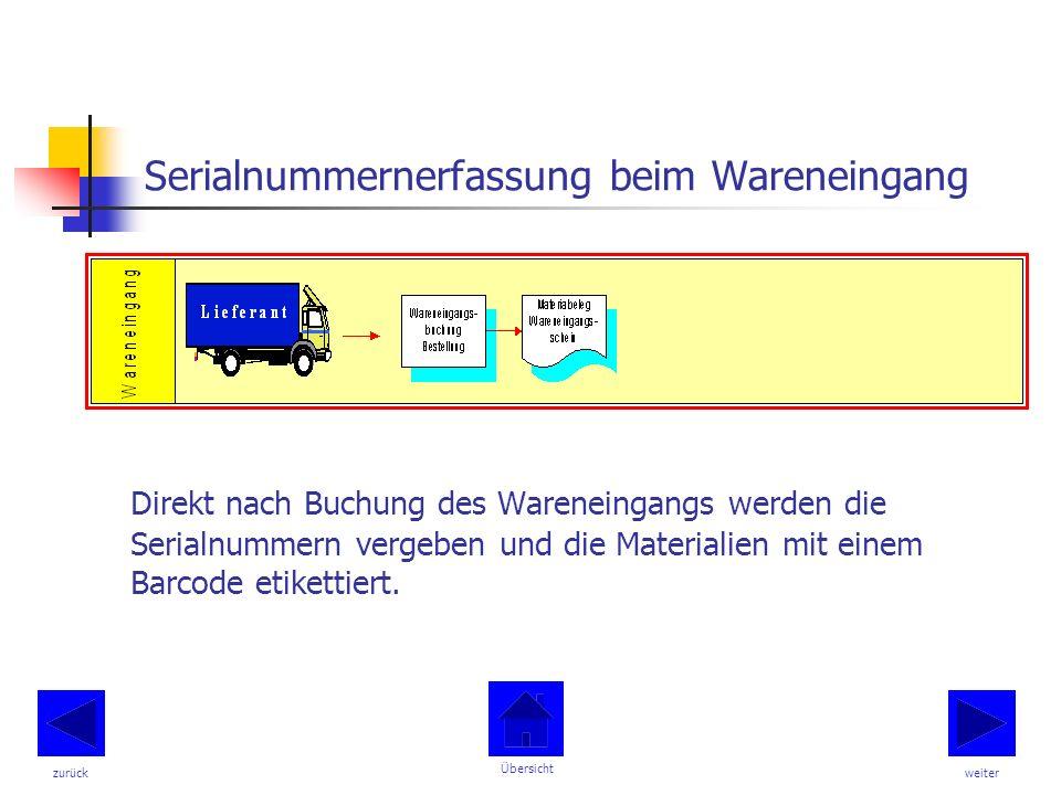 Serialnummernerfassung beim Wareneingang Direkt nach Buchung des Wareneingangs werden die Serialnummern vergeben und die Materialien mit einem Barcode etikettiert.