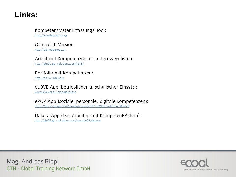 Kompetenzraster-Erfassungs-Tool: http://edustandards.org Österreich-Version: http://bist.edugroup.at Arbeit mit Kompetenzraster u.