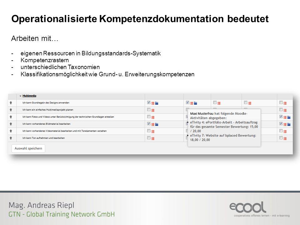 Operationalisierte Kompetenzdokumentation bedeutet Arbeiten mit… -eigenen Ressourcen in Bildungsstandards-Systematik -Kompetenzrastern -unterschiedlichen Taxonomien -Klassifikationsmöglichkeit wie Grund- u.