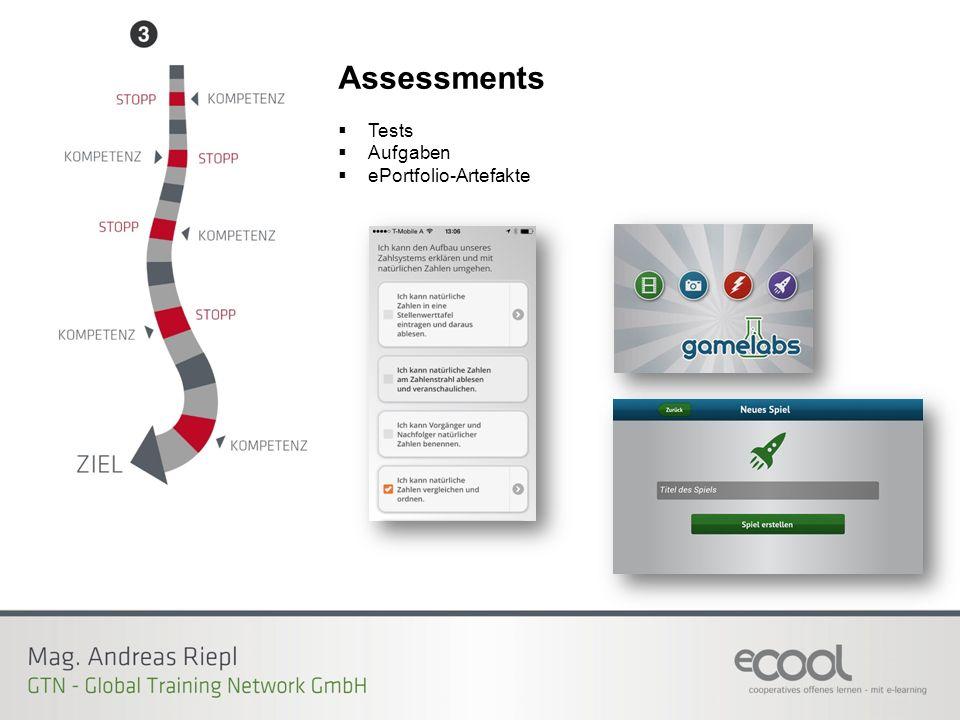 Assessments  Tests  Aufgaben  ePortfolio-Artefakte