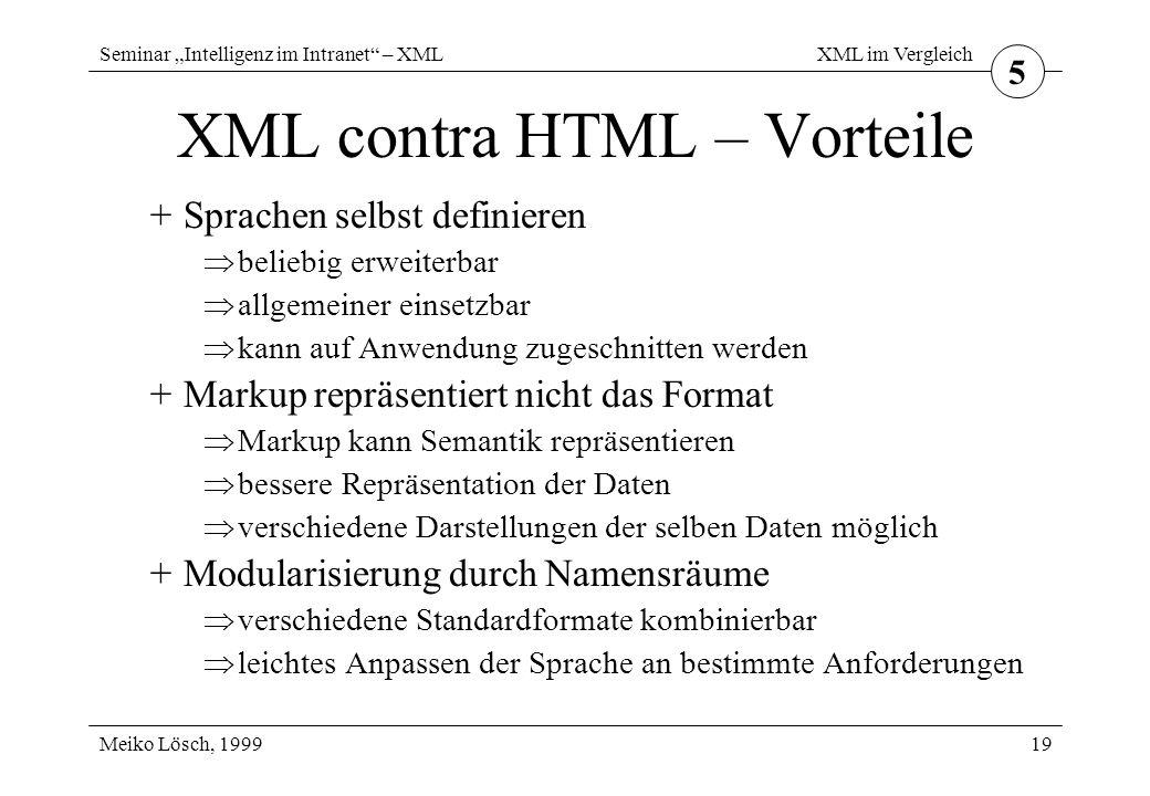 """Seminar """"Intelligenz im Intranet – XML Meiko Lösch, 1999 XML im Vergleich 19 XML contra HTML – Vorteile +Sprachen selbst definieren  beliebig erweiterbar  allgemeiner einsetzbar  kann auf Anwendung zugeschnitten werden +Markup repräsentiert nicht das Format  Markup kann Semantik repräsentieren  bessere Repräsentation der Daten  verschiedene Darstellungen der selben Daten möglich +Modularisierung durch Namensräume  verschiedene Standardformate kombinierbar  leichtes Anpassen der Sprache an bestimmte Anforderungen 5"""